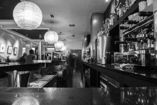 Cafe bar black and white ligts